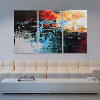 Hand-painted 'Contemporary Color Combination #682' Gallery-wrapped 3-piece Canvas Wall Art|https://ak1.ostkcdn.com/images/products/13169550/P19893896.jpg?impolicy=medium