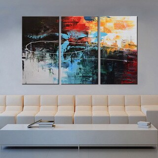 Hand-painted 'Contemporary Color Combination #682' Gallery-wrapped 3-piece Canvas Wall Art