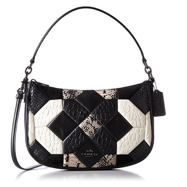 8b4d943815b3 Shop Coach Black Canyon Quilt Chelsea Exotic Leather Crossbody Bag ...