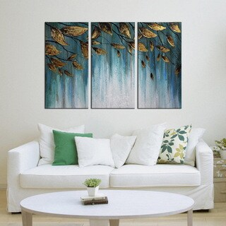 Hand-painted 'Golden Leaves' Gallery-wrapped 3-Piece Set Canvas Wall Art Set