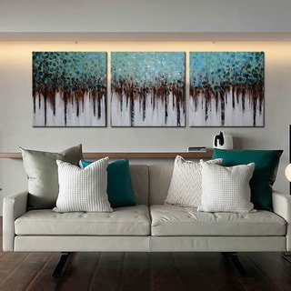 'Blue Forest' 3-piece Hand-painted Gallery-wrapped Canvas Art Set
