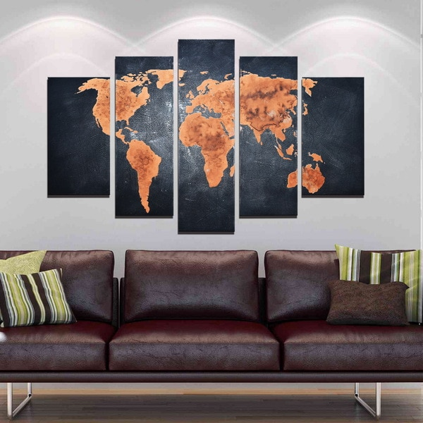 Shop classic world map 5 piece hand painted gallery wrapped canvas x27classic world mapx27 5 piece hand painted gumiabroncs Choice Image