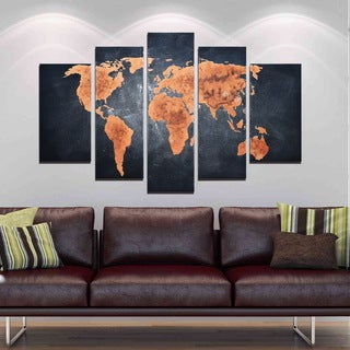 'Classic World Map' 5-piece Hand-painted Gallery-wrapped Canvas Art Set