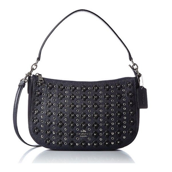 Shop Coach Womenu0026#39;s Floral Rivets Chelsea Navy Pebbled Leather Crossbody Bag - On Sale - Free ...