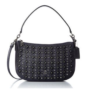 Coach Women's Floral Rivets Chelsea Navy Pebbled Leather Crossbody Bag|https://ak1.ostkcdn.com/images/products/13169592/P19893914.jpg?impolicy=medium