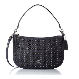 Coach Women's Floral Rivets Chelsea Navy Pebbled Leather Crossbody Bag