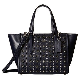 Coach 37703 Crosby Navy Leather Floral Satchel with Mini Rivets