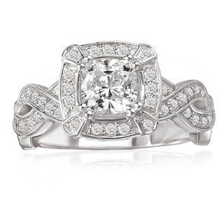 Avanti 14K White Gold 1/2 CT TDW Diamond and Cushion Cut Cubic Zirconia Center Braided Shank Engagement Ring (G-H, VS2-SI1)