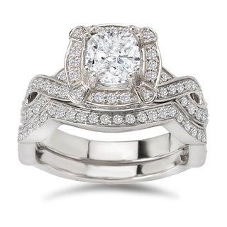Avanti 14K White Gold 1/2 CT TDW Diamond and Cushion Cut Cubic Zirconia Center Braided Shank Bridal Set (G-H, VS2-SI1)