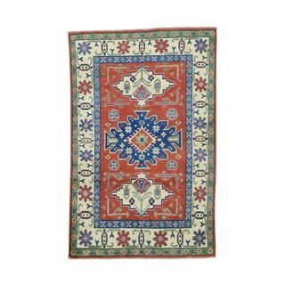 1800GetaRug Tribal And Geometric Design Kazak Hand-Knotted Carpet (4' x 6'2)