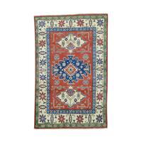 Shahbanu Rugs Tribal And Geometric Design Kazak Hand-Knotted Carpet (4' x 6'2)