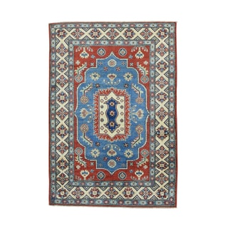 1800GetaRug Blue Wool Hand-knotted Geometric-design Kazak Oriental Carpet (4' x 5'10)