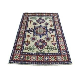 1800GetaRug Oriental Multicolored Wool Hand-knotted Kazak Tribal Rug (3'2 x 4'9)
