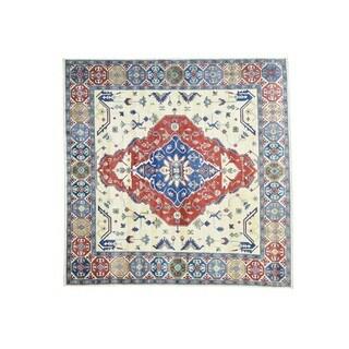 1800GetaRug Tribal Design Square Kazak Wool Hand-knotted Rug (9'10 x 9'10)