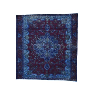 1800GetaRug Blue/Burgundy Hand-knotted Overdyed Persian Tabriz Square Rug (9'6 x 10'2)