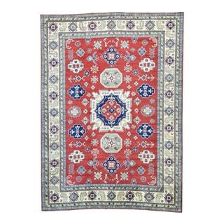 1800GetaRug Red/Multicolor Wool Hand-knotted Kazak Geometric-design Oriental-pattern Rug (10' x 13'9)