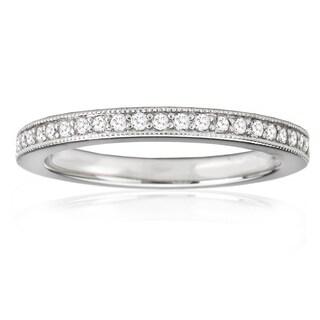 Avanti 14K White Gold 1/6 CT TDW Round Diamond Prong Set Milgrain Detail Vintage Wedding Band Ring (G-H, VS2-SI1)