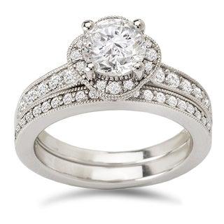 Avanti 14K White Gold 1/2 CT TDW Diamond and Round Brilliant Cut Cubic Zirconia Center Clover Halo Bridal Set (G-H, VS2-SI1)