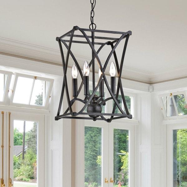 Foyer Chandelier Overstock : Shop oliver james kiki antique black iron chandelier