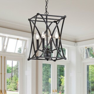 Oliver & James Kiki Antique Black Iron Chandelier