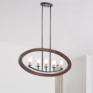 Daniela Black/Brown Frosted Glass/Wood/Iron Iron 5-light Chandelier