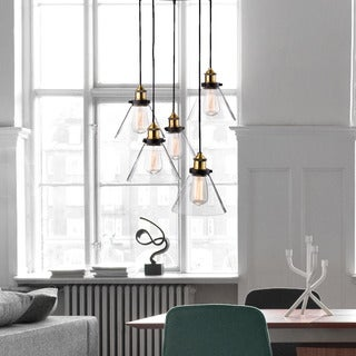 Malvina Antique Black Iron and Clear Glass 5-light Pendant Chandelier
