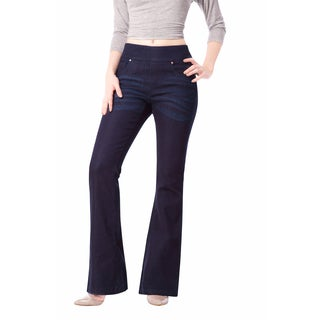 Bluberry Denim Women's Leonie Blue RInse Cotton, Polyester and Spandex Flare Leg Plus Size Pants