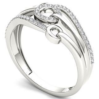 De Couer 10k White Gold 1/8ct TDW Diamond Split Shank FashionRing