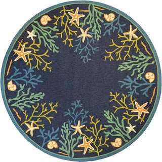 Picadilly Coral Reef/ Blue-Green Indoor/Outdoor Round Rug - 7'10 x 7'10