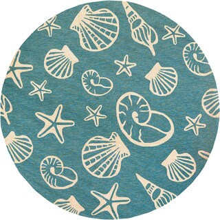Couristan Outdoor Escape Cardita Shells Turquoise/ Ivory Hand-hooked Area Rug (7'10 Round)