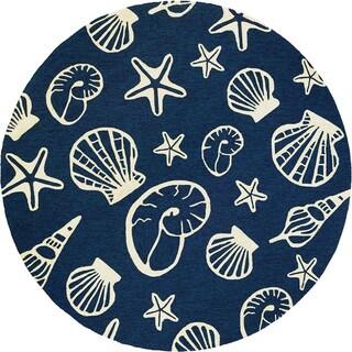 Couristan Inc Hand-hooked Outdoor Escape Cardita Shells Navy/Ivory Polypropylene Rug (7'10 x 7'10)
