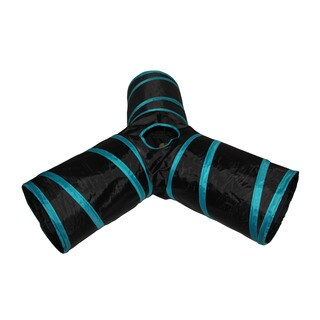 Purrrfect Life Black/Blue Polyester/Steel Collapsible 3-way Cat Tunnel