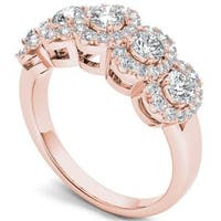 De Couer 14k Rose Gold 1 1/10 ct TDW Diamond Halo Ring - Pink