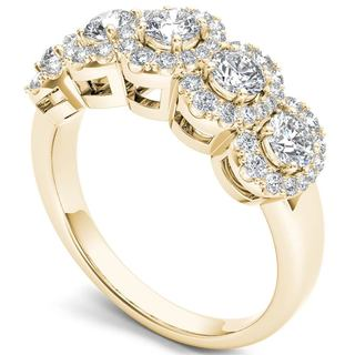 De Couer 14k Yellow Gold 1 1/10ct TDW Diamond Halo Ring