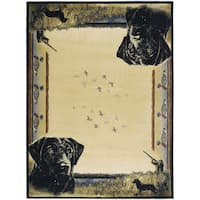 Ridgeland Hunter's Dog Multcolor Polypropylene Area Rug - 5'3 x 7'6