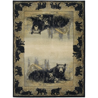 Westfield Home Ridgeland Cub Border Ivory/Black/Grey/Green/Natural/Brown Polypropylene Accent Rug (3'11 x 5'3)