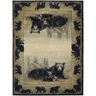 Westfield Home Ridgeland Cub Border Ivory/Black/Grey/Green/Natural/Brown Polypropylene Accent Rug (3'11 x 5'3)
