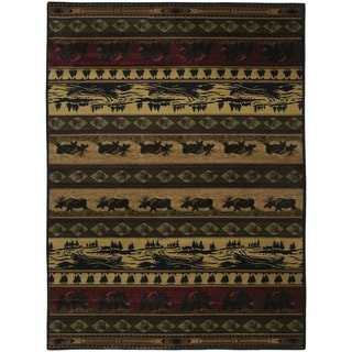 Westfield Home Ridgeland Rustic Forest Camel/Black/Grey/Green/Burgundy/Brown Polypropylene Accent Rug (3'11 x 5'3)