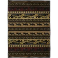 Westfield Home Ridgeland Rustic Forest Camel/Black/Grey/Green/Burgundy/Brown Polypropylene Accent Rug - 3'11 x 5'3