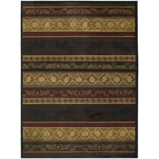 Westfield Home Ridgeland Moose Forest Brown Polypropylene Runner Rug (1'11 x 7' 4)