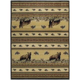 Westfield Home Ridgeland Twin Bears Multcolor Polypropylene Runner Rug (1'11 x 7'4)