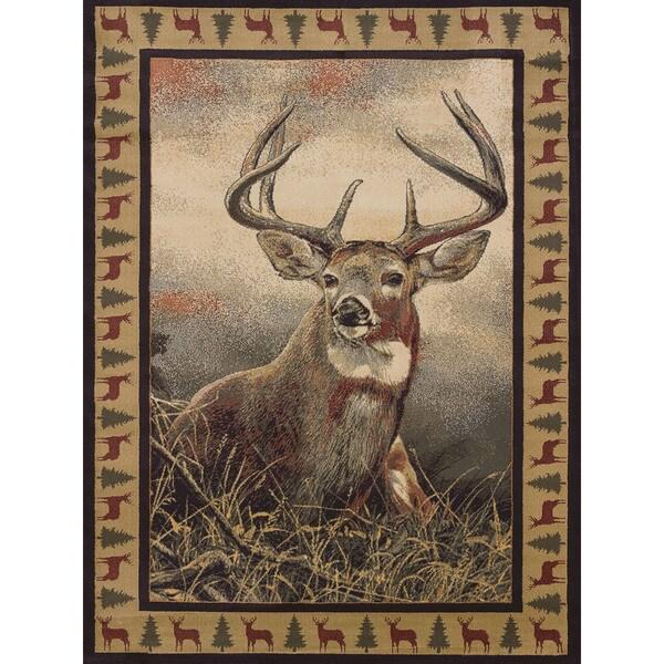 Westfield Home Ridgeland Royal Antlers Multicolor Polypropylene Accent Rug (1'10 x 3')