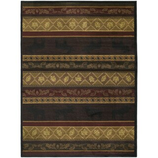 Westfield Home Ridgeland Moose Forest Multicolor Polypropylene Accent Rug (1'10 x 3')