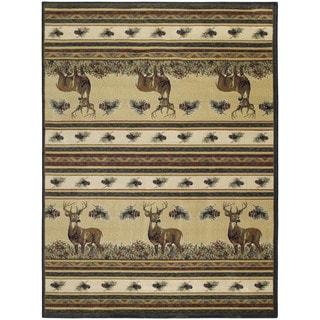 Westfield Home Ridgeland Deer Meadows Multicolor Polypropylene Accent Rug (1'10 x 3')