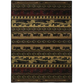Westfield Home Ridgeland Multicolored Polypropylene Rustic Forest Accent Rug (1'10 x 3')