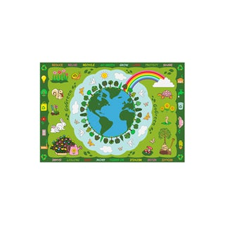 Fun Rugs Home Indoor Multi Color Go Green Rug (3'3  x 4'10 )