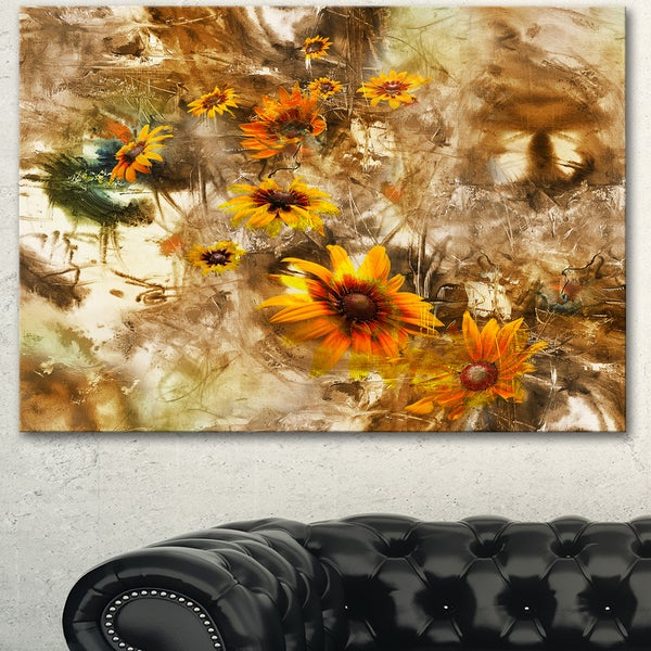 Designart 'Yellow Flowers with Brown Background' Extra Large Floral Wall Art