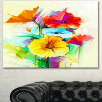 Designart 'Colorful Gerbera Flower Sketch on White' Modern Floral Wall Art Canvas - White