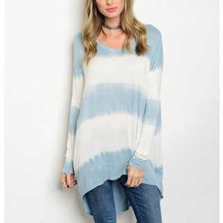 JED Women's Rayon Relax-fit Tie-dye Soft High-low Tunic Top