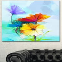 Designart 'Amazing Watercolor of Spring Daisies' Modern Floral Wall Art Canvas - Blue